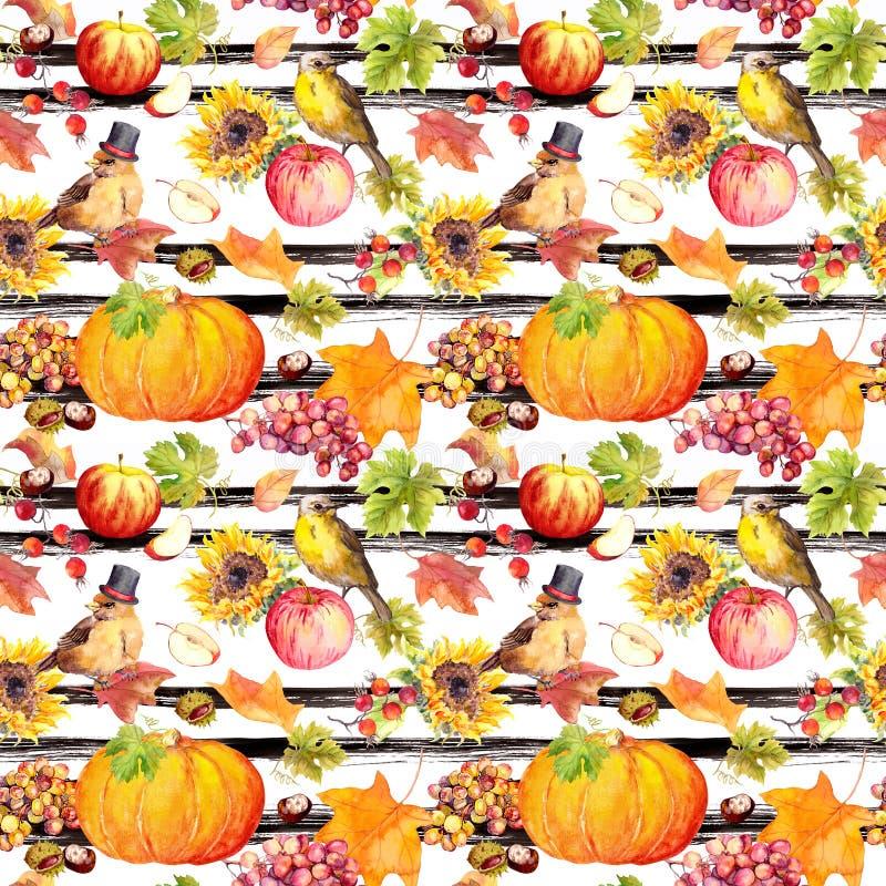 Ringraziamento che ripete modello - uccelli, frutti, verdure - zucca, mele, uva con le foglie di autunno annata illustrazione di stock