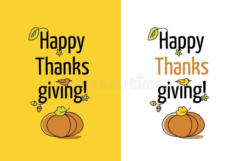 Ringraziamento felice della cartolina d'auguri con la zucca ed il permesso royalty illustrazione gratis