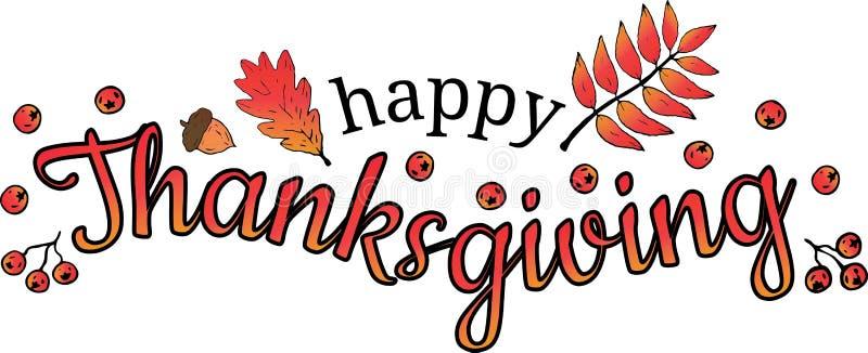 Ringraziamento felice Logo con le foglie della sorba e della quercia, ghianda, bacche di sorbo su un fondo bianco illustrazione vettoriale