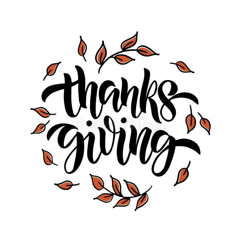 Ringraziamento - manifesto d'iscrizione disegnato a mano di tipografia illustrazione di stock