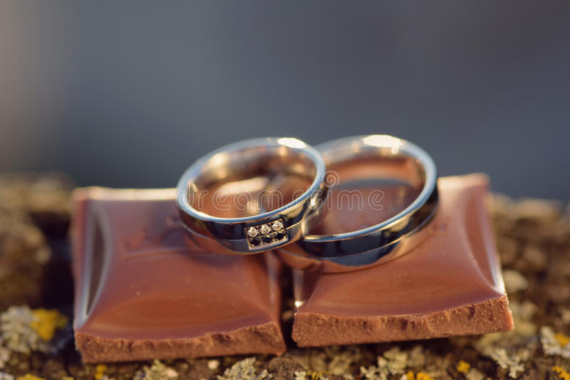 Rings on Chocolate Pieces stock photography