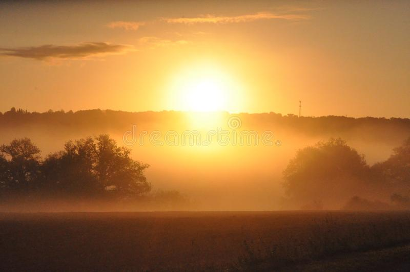 Rings of dawn. Light and peaceful haze softening the vigor of this dawn sun stock photos