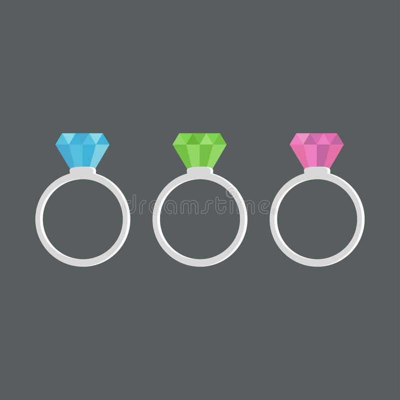 Rings diamond, ruby, emerald and sapphire. royalty free illustration