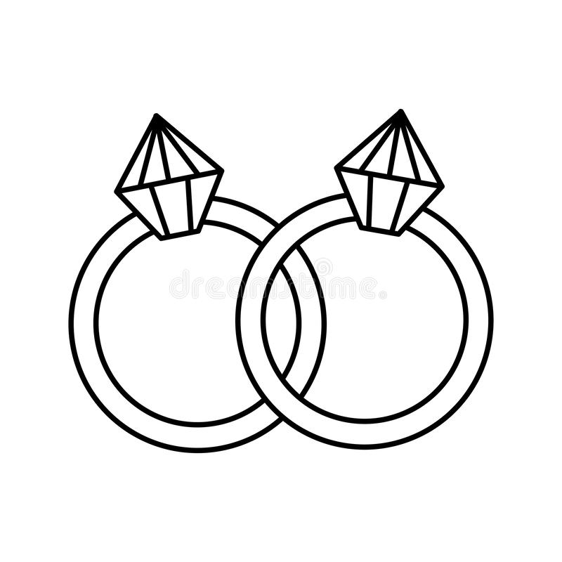 Rings with diamonds icons royalty free illustration