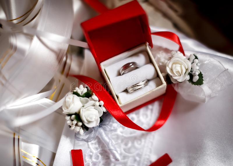 Rings and flowers for weeding. Decoration. Weeding decoration with rings and flowers stock photo