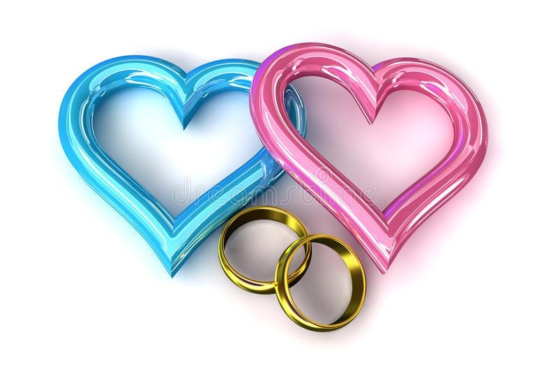 Rings heart gold. Pinh blue wedding stock illustration