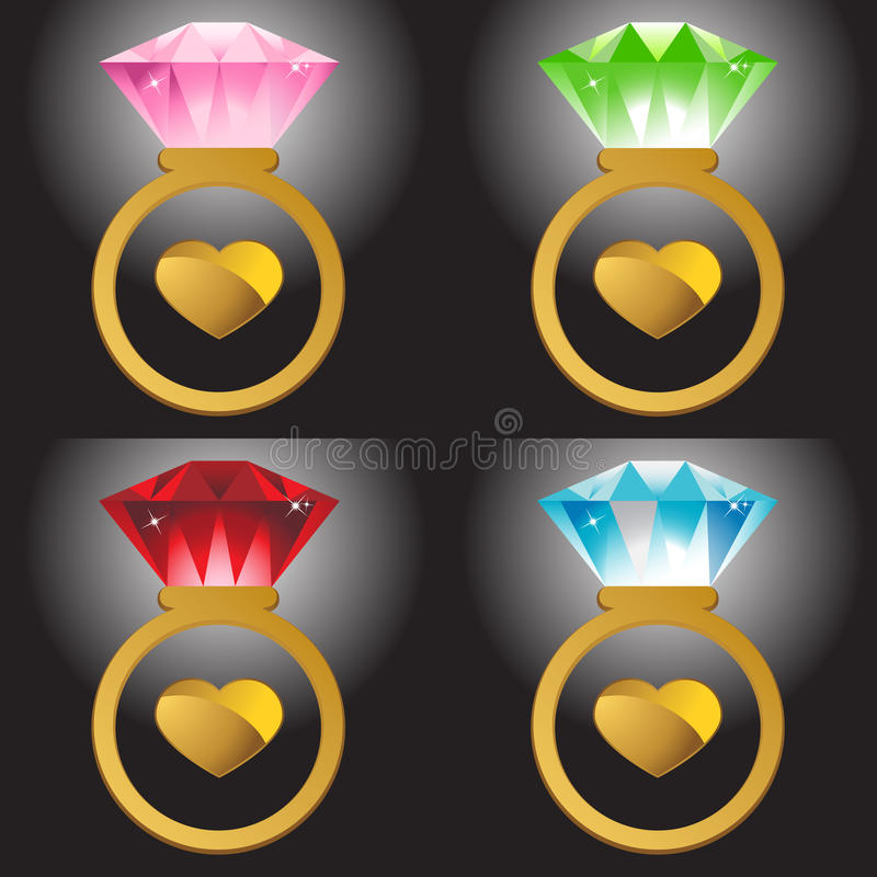 Rings and Hearts vector illustration