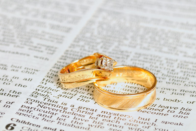 Rings On Marriage Chapter Stock Photography