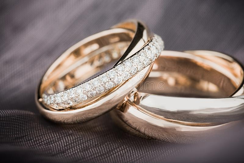 RIngs. Metal proposing closeup matrimony bands ceremony two stock image