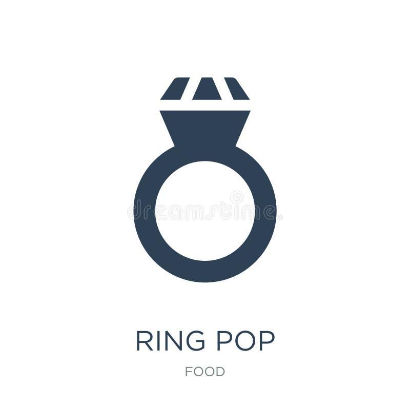 rings pop pictogram in in ontwerpstijl rings pop pictogram op witte achtergrond wordt geïsoleerd die eenvoudige en moderne vlakte vector illustratie