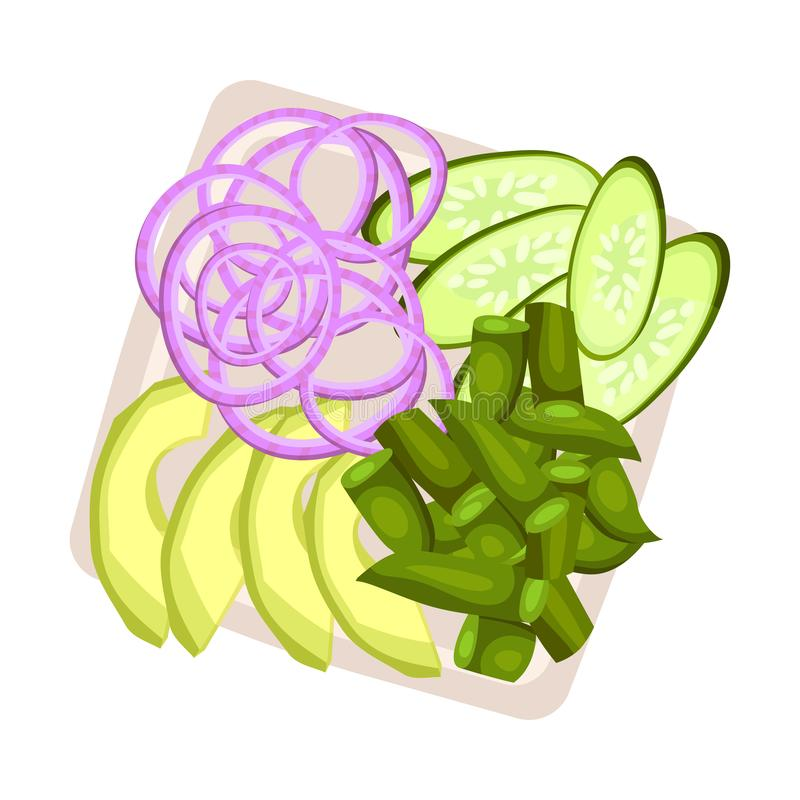 Sliced vegetables on a square plate. Vector illustration. Rings of purple onions, slices of cucumber and chopped asparagus on a square plate. Vector royalty free illustration