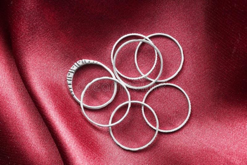 Rings on satin royalty free stock photo