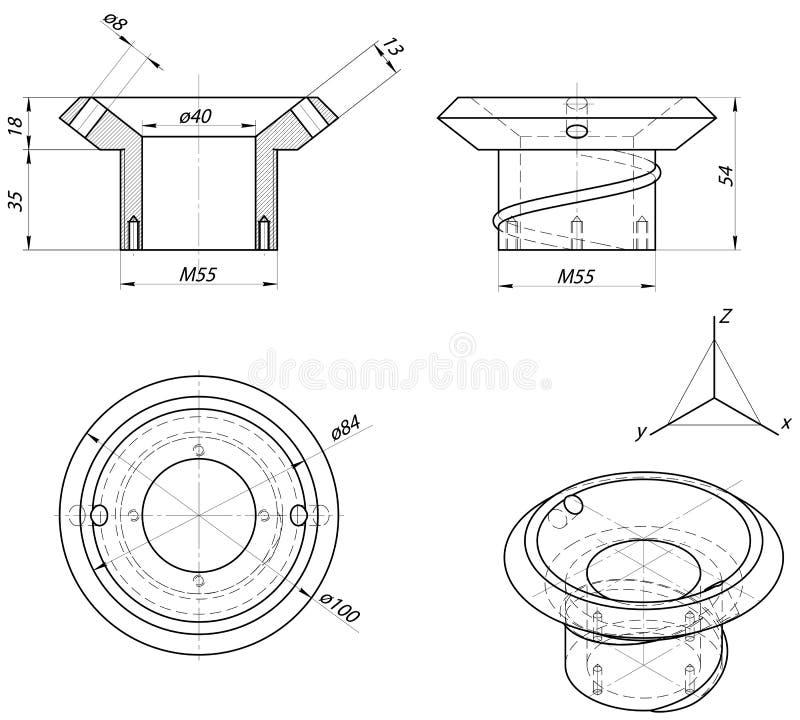 Ringsschets Toestel, schakelnet, potlood en ontwerp Vector beeld royalty-vrije illustratie