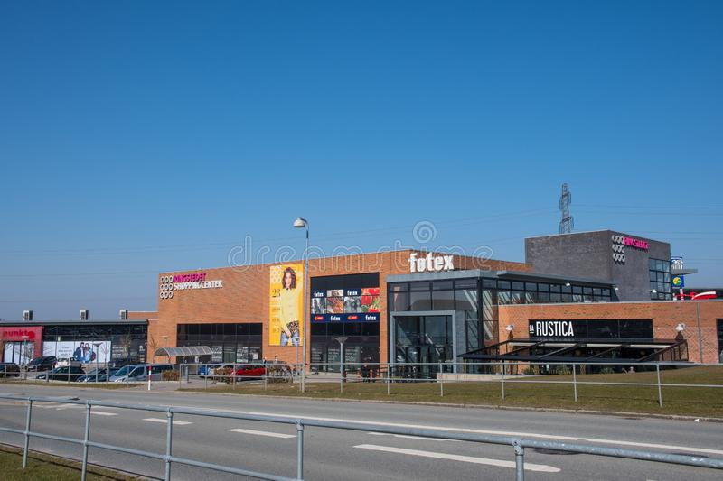 Ringsted shopping mall on a sunny spring day royalty free stock image
