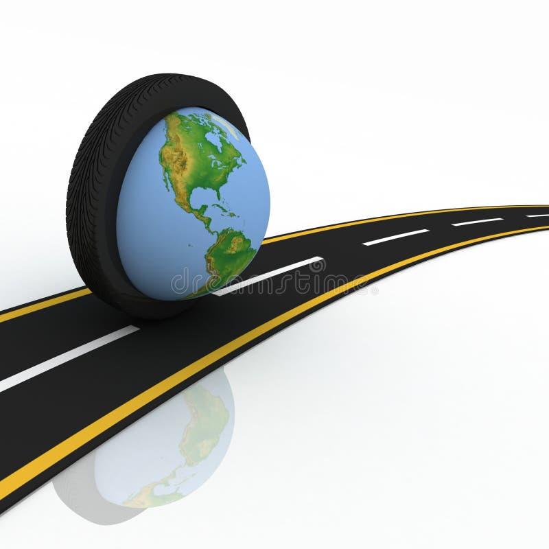 Ringsum die Welt auf Rädern lizenzfreie abbildung