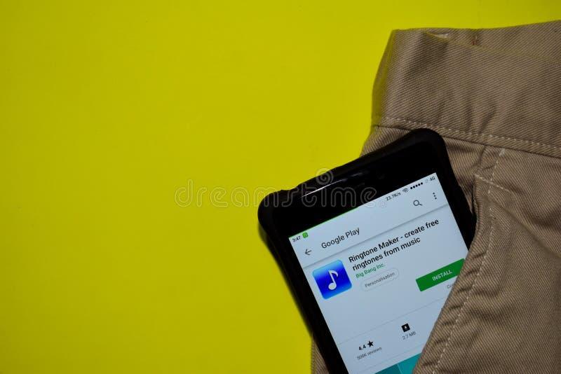 Ringtone制造商-创造从音乐dev应用的自由rintones在智能手机屏幕上 图库摄影