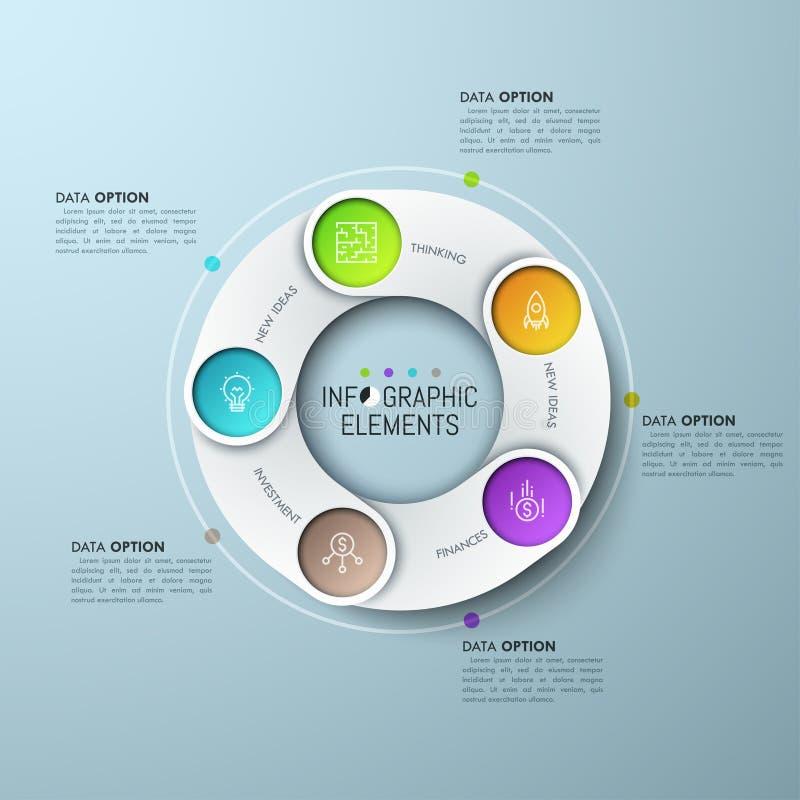 Ringvormige grafiek met 5 overlappende elementen royalty-vrije illustratie