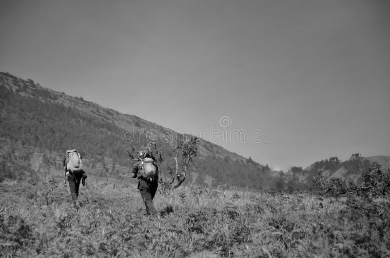 Rinjani de bâti, lombok Indonésie 2017 le 17 septembre : Début non identifié de randonneur leur voyage pour augmenter le rinjani  photo libre de droits