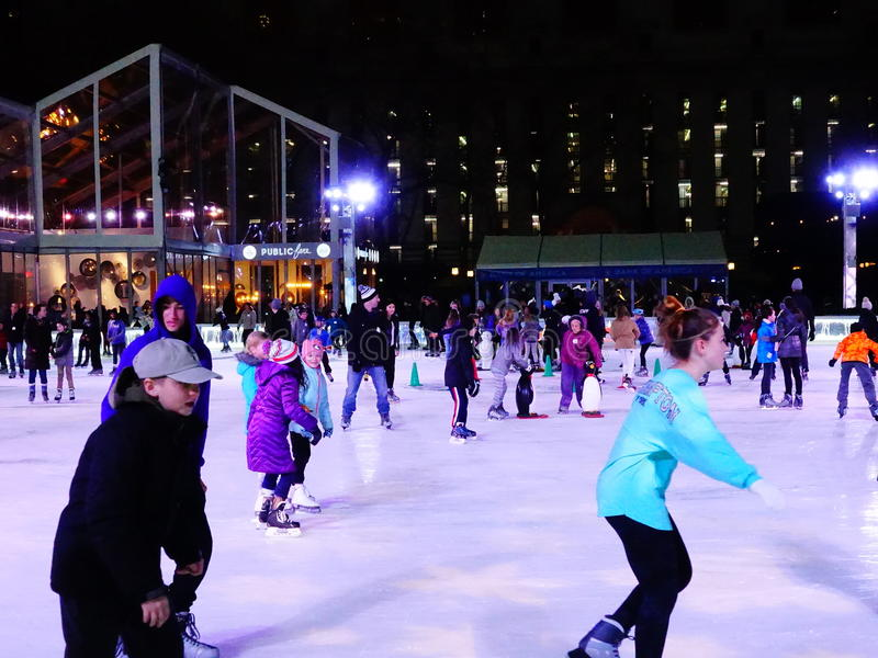 The Rink At Bryant Park 5. The Rink is the centerpiece of Bank of America Winter Village at Bryant Park. The 170` x 100` rink features free admission ice skating stock image