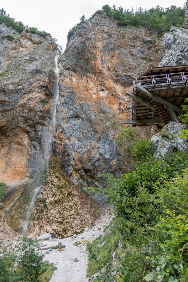 Rinka waterfall with eagles nest in Logar - Logarska valley, Slovenia. Rinka waterfall with eagles nest lookout in Logar - Logarska valley, Slovenia is a popular stock image