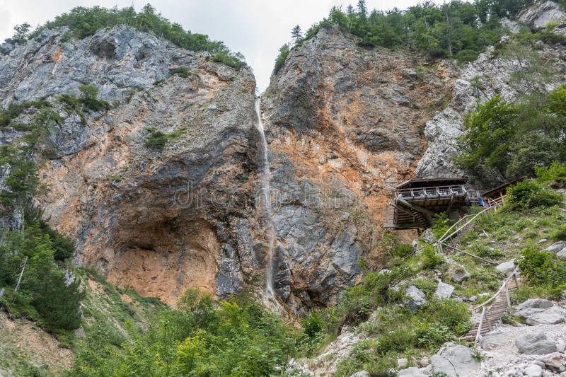 Rinka waterfall with eagles nest in Logar - Logarska valley, Slovenia. Rinka waterfall with eagles nest lookout in Logar - Logarska valley, Slovenia is a popular stock photo