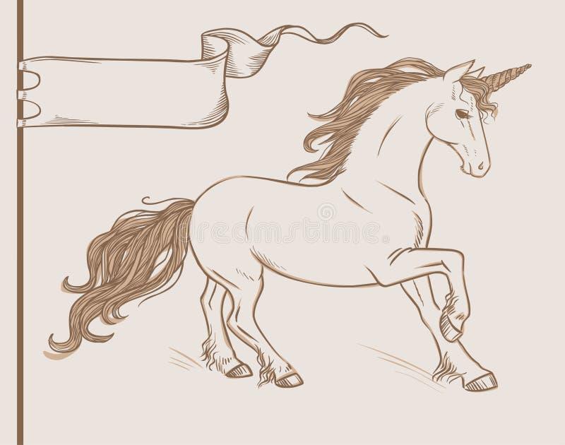 Rinnande enhörning i tappningstil Tecknad illustration för vektor hand royaltyfri illustrationer