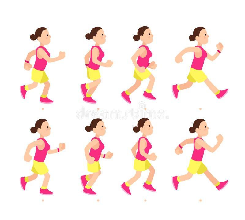 Rinnande flickaanimering för tecknad film Den idrotts- teckenkörningen för den unga kvinnan eller snabba går Livlig rörelsesport  vektor illustrationer