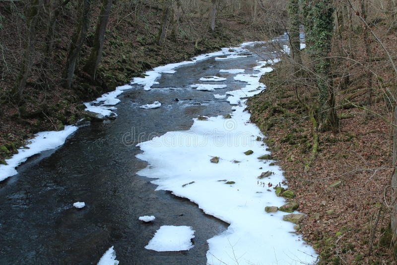 Rinnande flod i vinter royaltyfria bilder