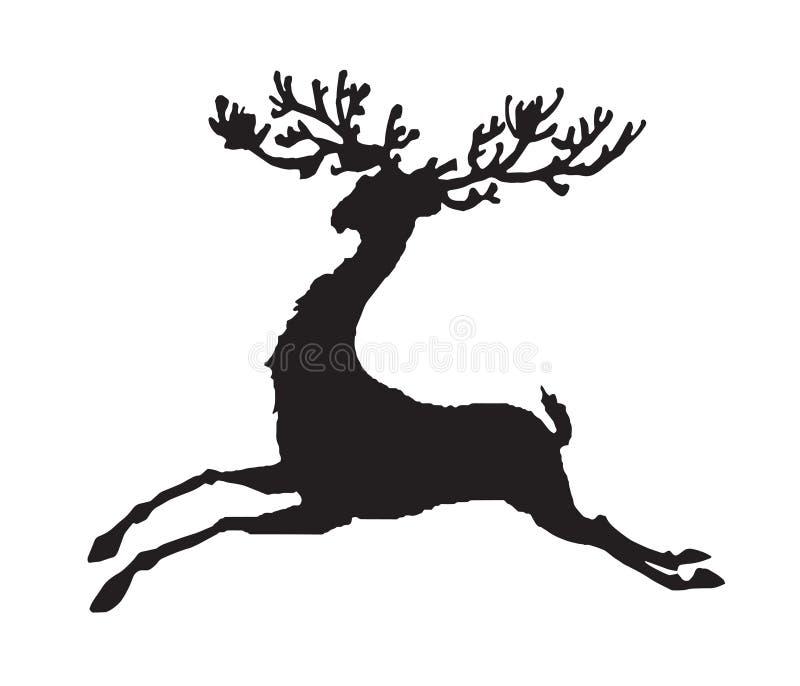 Rinnande hjortvektor för svart kontur royaltyfri illustrationer
