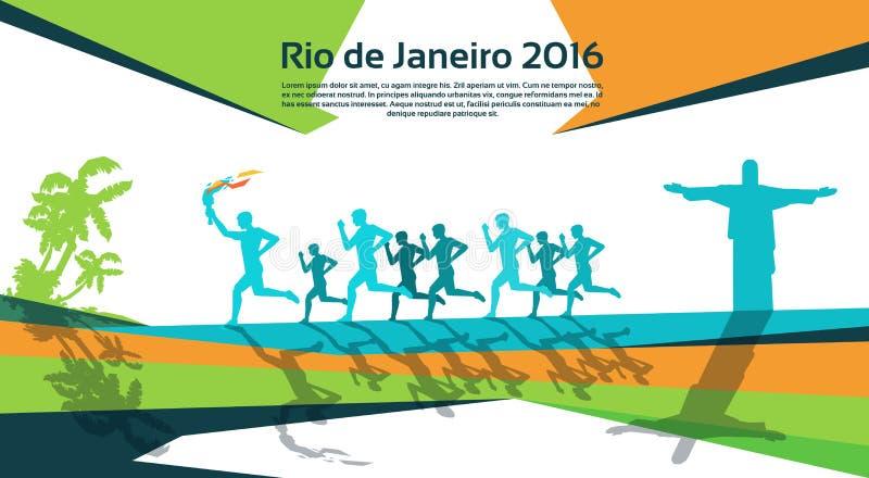 Rinnande idrottsman nenGroup With Fire fackla Rio Sport Competition Concept vektor illustrationer