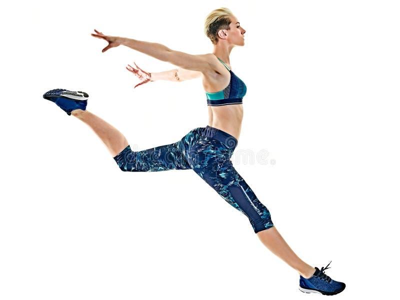 Rinnande jogger för kvinnalöpare som joggar isolerad vit bakgrund fotografering för bildbyråer