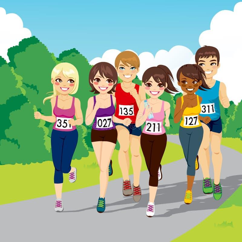 Rinnande konkurrens för maraton royaltyfri illustrationer
