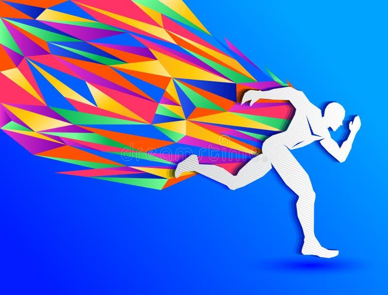 Rinnande man, abstrakt sportkontur vektor illustrationer