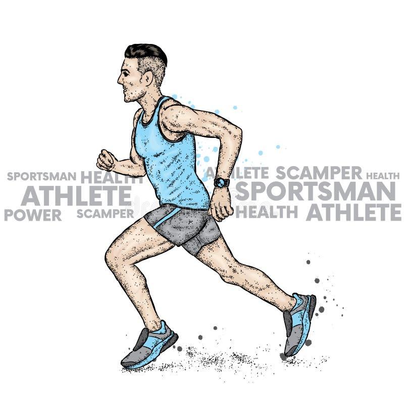 Rinnande man i T-tröja och kortslutningar athirst också vektor för coreldrawillustration Sport och hälsa royaltyfri illustrationer