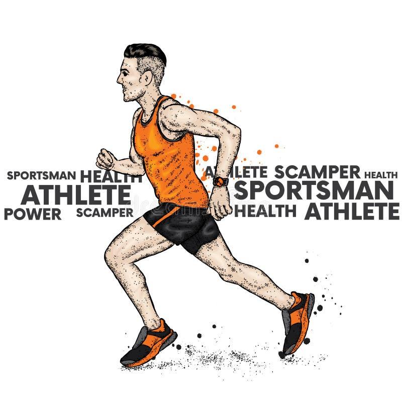 Rinnande man i T-tröja och kortslutningar athirst också vektor för coreldrawillustration Sport och hälsa stock illustrationer