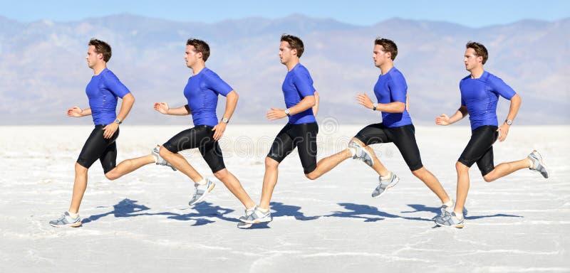 Rinnande man - löpare i hastighetsrörelsekomposit royaltyfria foton
