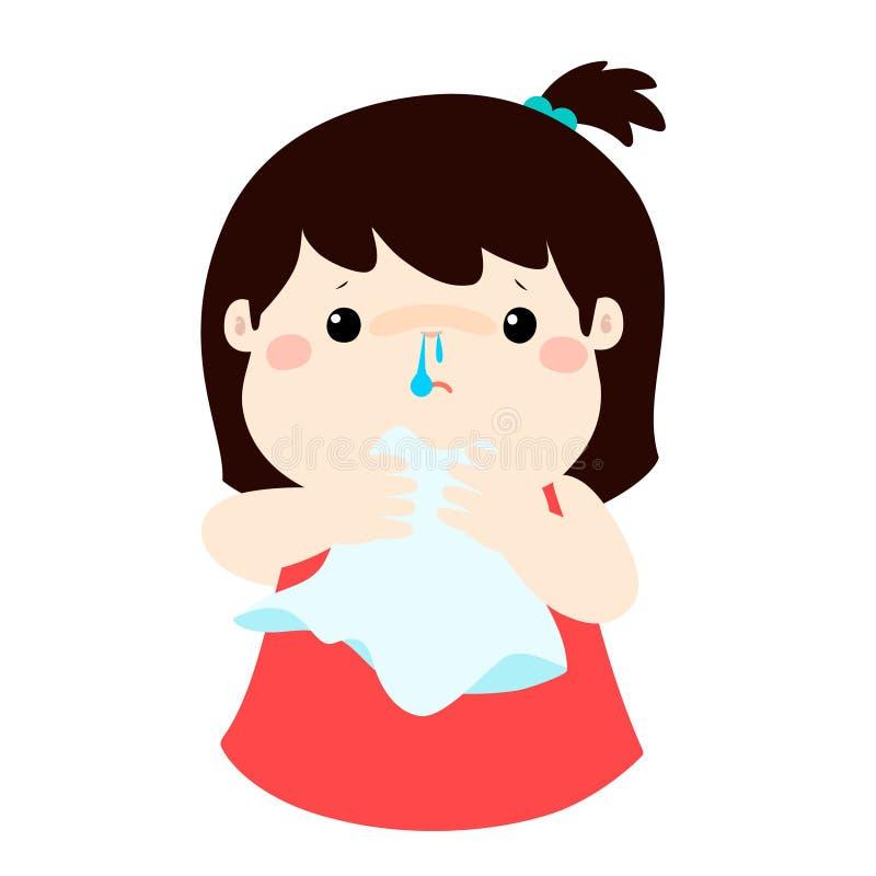 Rinnande näsa för sjuk flicka stock illustrationer