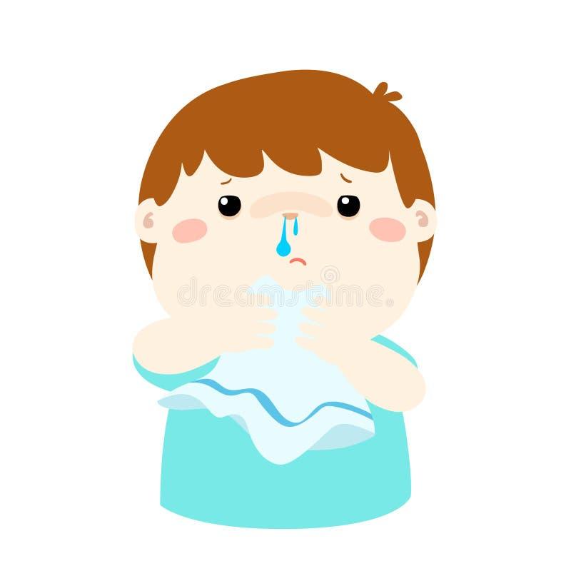 Rinnande näsa för sjuk pojke royaltyfri illustrationer