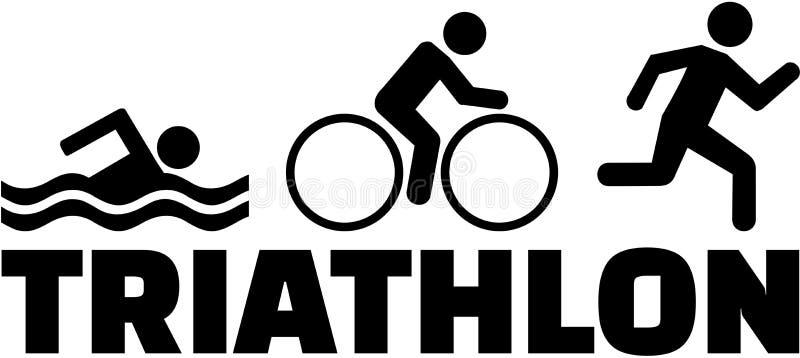 Rinnande pictogram för Triathlonsimningcykel royaltyfri illustrationer