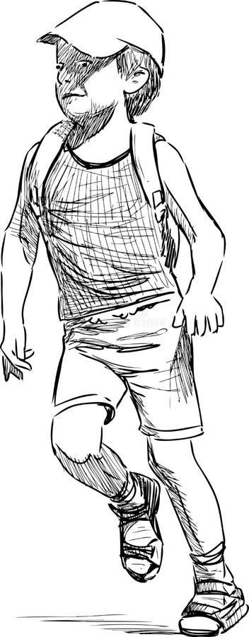 Rinnande pojke vektor illustrationer