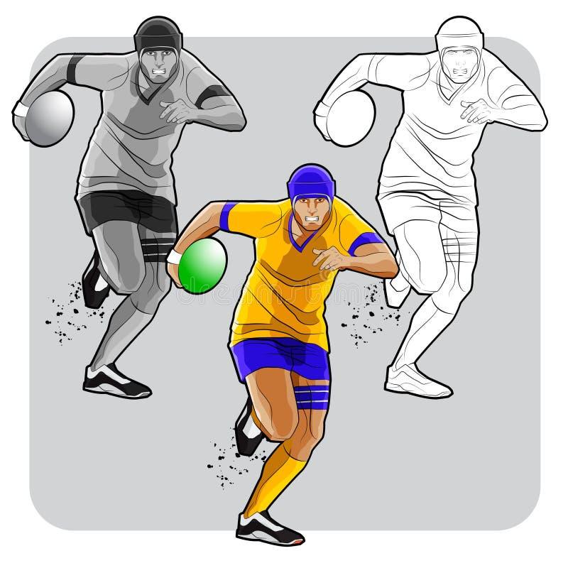Rinnande rugbyspelare vektor illustrationer