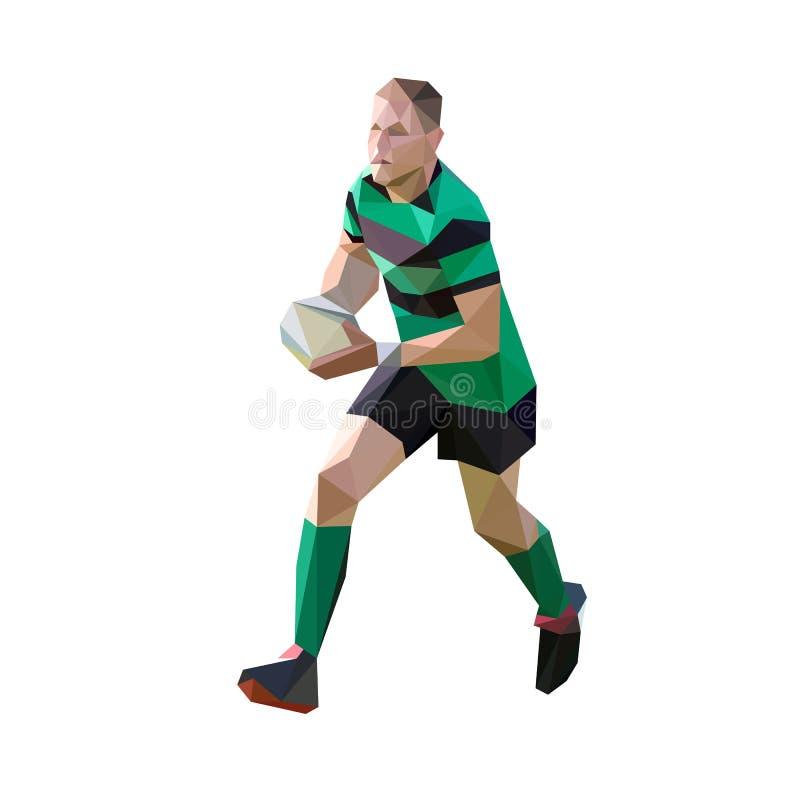 Rinnande rugbyspelare med bollen som är polygonal stock illustrationer