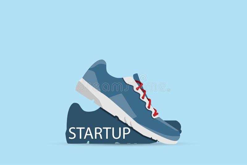 Rinnande skor med startup ord, start och affärsidé stock illustrationer