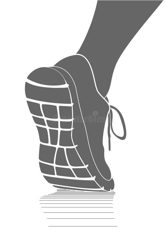 Rinnande sportar skor symbolen, enkel vektorteckning stock illustrationer