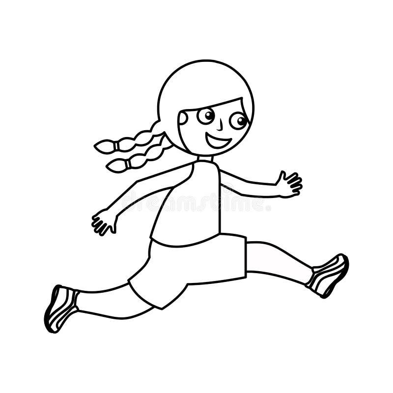 Rinnande symbol för liten unge royaltyfri illustrationer