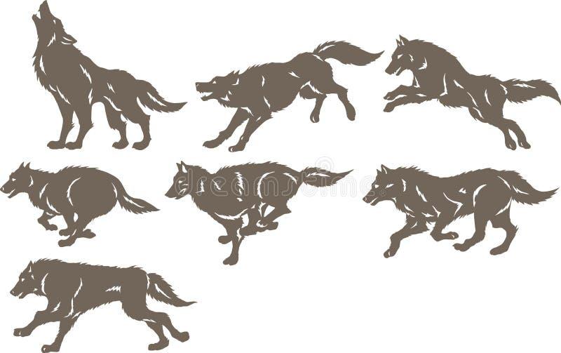 Rinnande varger vektor illustrationer