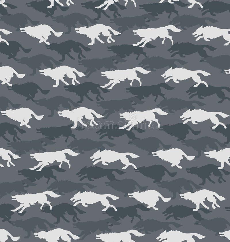 Rinnande varger Grå färgbakgrund stock illustrationer