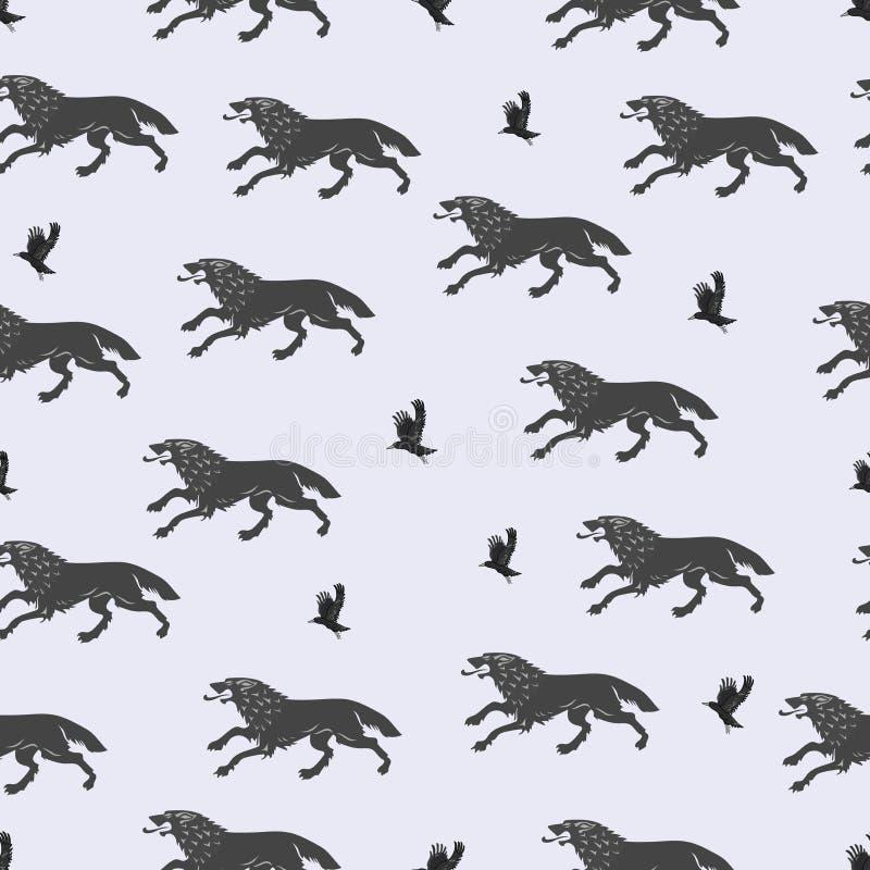 Rinnande varger och flyggalanden vektor illustrationer