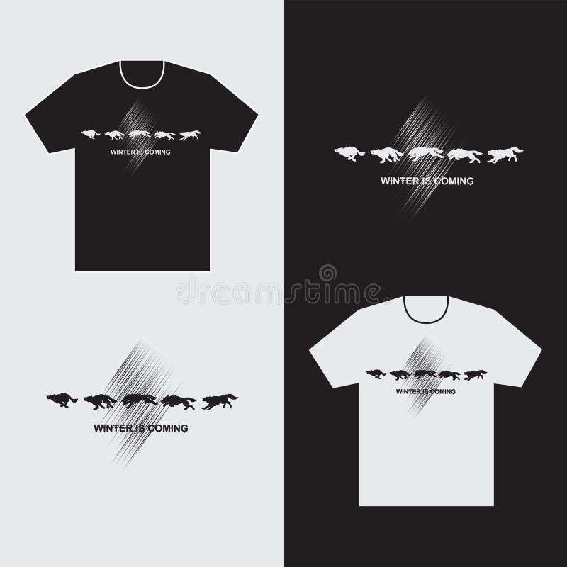 Rinnande varger på t-skjortor vektor illustrationer
