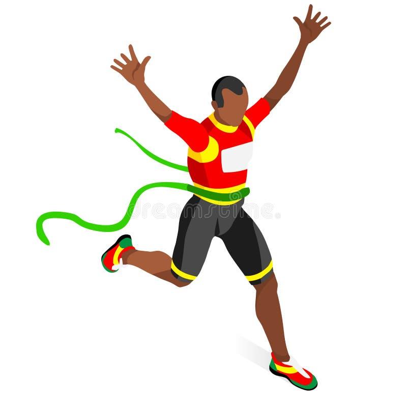 Rinnande vinnarefriidrottsommar spelar symbolsuppsättningen segra för begrepp För segerlöpare för OS:er 3D isometrisk idrottsman  vektor illustrationer